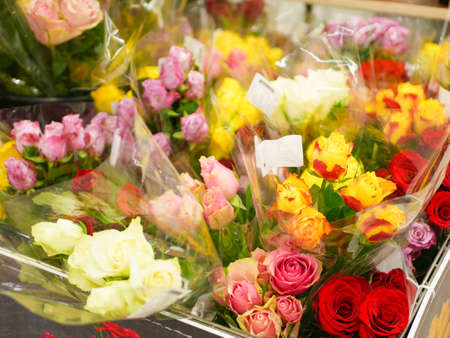 bouquets of flowers. Many bouquets of flowers. Roses, lilies, chrysanthemums. Close-up
