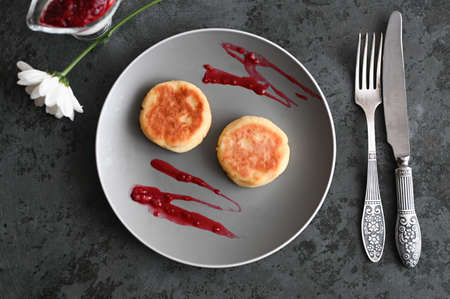 pancakes with jam. flat lay. view from above 스톡 콘텐츠