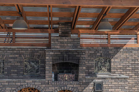 outdoor kitchen made of decorative bricks. for frying meat. Reklamní fotografie