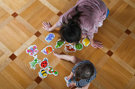 Mom and baby study insects. Mother teaches a child. View from above. Baby boy and insects. Flat lay. Foto de archivo