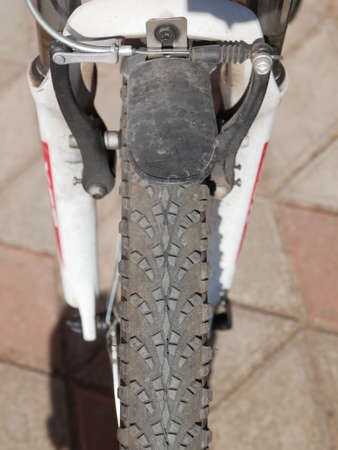 Wheel of a bicycle close-up. Close-up tread. High quality photo