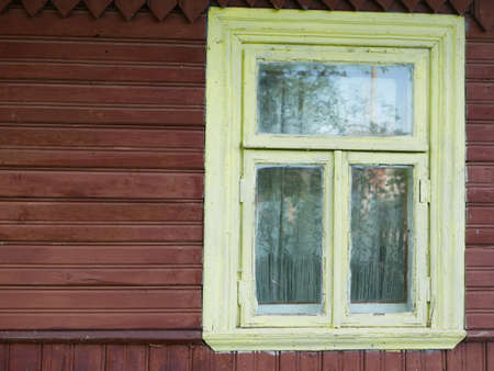 Old window of a wooden house. High quality photo Reklamní fotografie