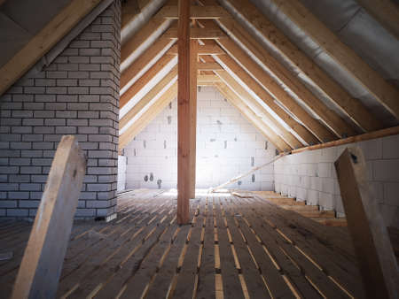unfinished attic. interior work on the second floor.