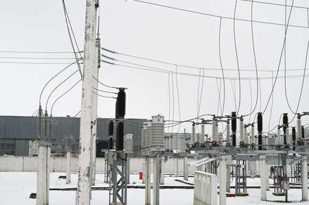 transformer with high voltage wires. Reklamní fotografie