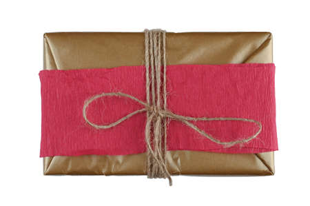 Brown gift wrap with tied rope on isolated background