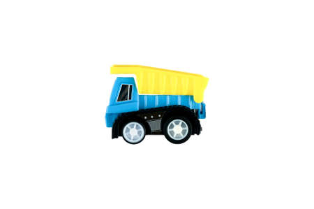 blue and yellow baby truck on isolated background. High quality photo