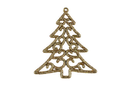 Christmas decoration in the form of a golden Christmas tree on an isolated background. High quality photo