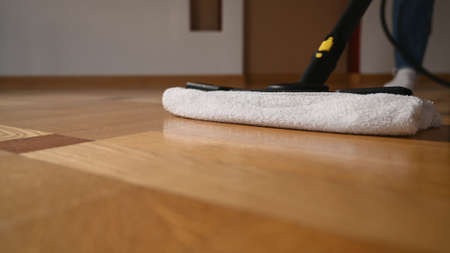 Washing mop on the parquet, close up. High quality photo
