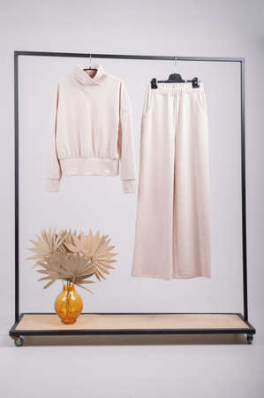 Beige womens jersey suit, sweatshirt, palazzo pants. Rack with stylish women's clothes isolated on white. High quality photo Foto de archivo