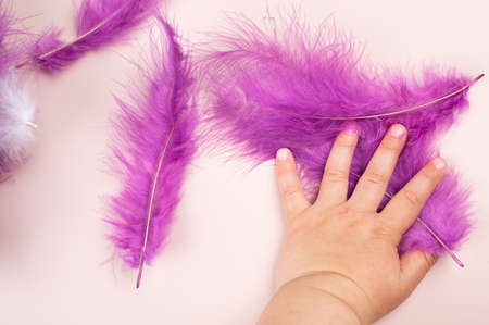 Multi-colored feathers in the hand of a child.