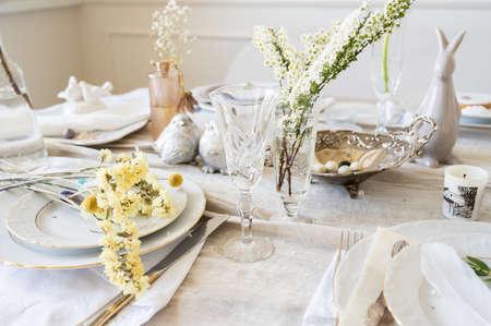 Spring table setting in light colors Archivio Fotografico