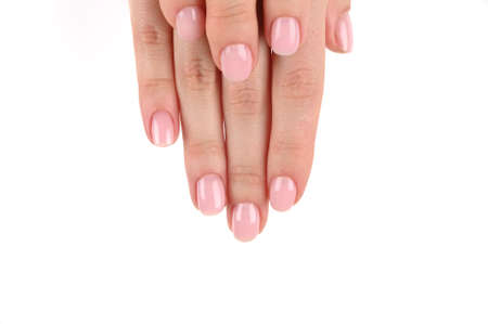 Female beautiful hands with manicure on an isolated background 版權商用圖片