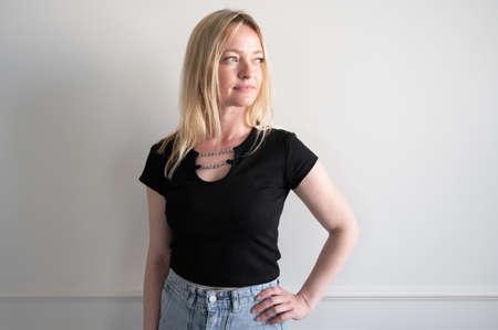 Portrait of a woman in a denim skirt 版權商用圖片