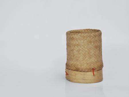 thailand bamboo: Bamboo wooden rice box in thailand Stock Photo