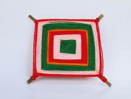 woollen: image of braided multi colored woollen yarns