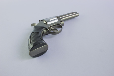 handgun: Pistol Revolver Handgun Isolated On White Background.