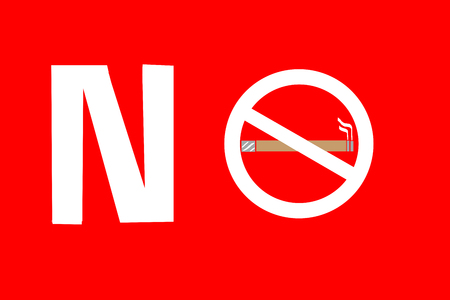 No smoking sign on RED background, May 31- World No Tobacco Day. Stock Photo