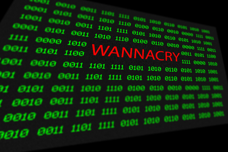 malware: The wannacry and binary code concept on the desktop screen. the wannacry and ransomware concept background.