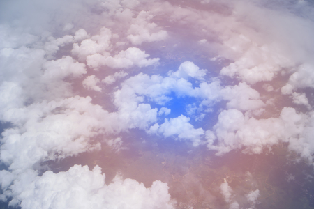 sky pink and blue colors.sky abstract background. High angle shots taken from the plane. Sweet pastel blu Imagens