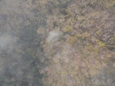 The Aerial view of forest fire in Mae Hong Son Thailand
