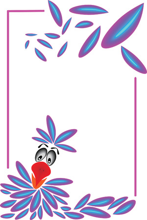 twisting: afraid looking parrot with feathers twisting around in a frame Illustration