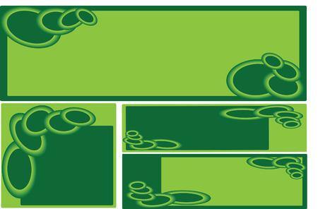 duo tone: set of green business banners with decorative duo tone green rings Illustration
