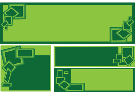 duo tone: set of green business banners with decorative duo tone green squares