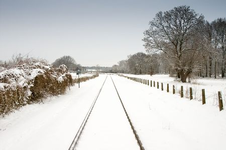 forest railway: snow landscape and railway track with pale blue sky