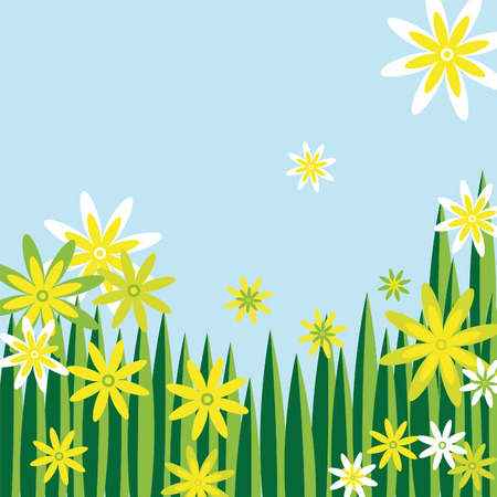 nice flower meadow in green white and yellow with blue sky  Ilustração