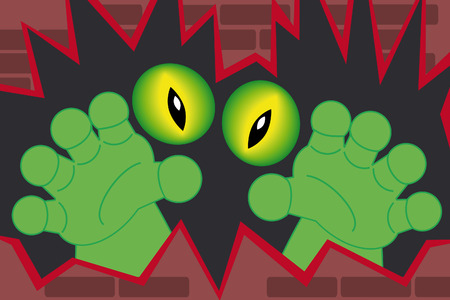 creepy alien: green monster hands and creepy alien eyes coming out of a wall