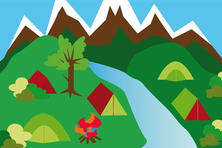 camping site: camping site in a mountain landscape with tents and river and campfire