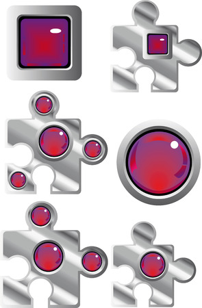 collection of fancy puzzle glass look web buttons in red and purple Stock Vector - 4636867