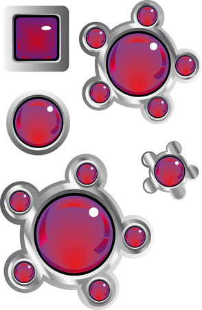 collection of fancy glass look web buttons in red and purple Stock Vector - 4636869