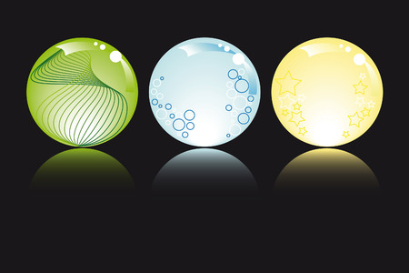 glowing spheres in pastel colors with stars bubbles and fantasy Stock Vector - 4636872