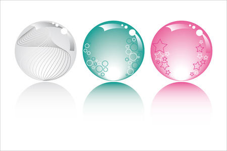 pastel spheres in pastel colors with stars bubbles and fantasy  Stock Vector - 4636870