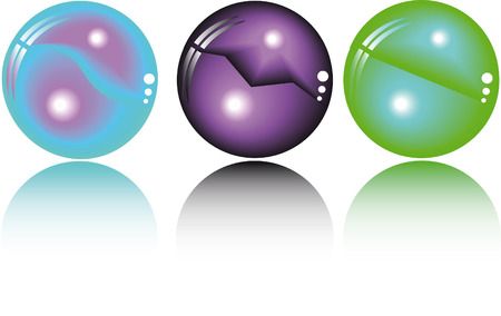 three fantasy spheres in different colors Stock Vector - 4636875