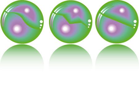 duo tone: three realistic fantasy spheres in duo tone