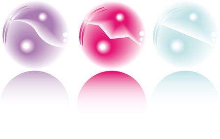 pastel colored: three pastel colored fantasy spheres with reflection