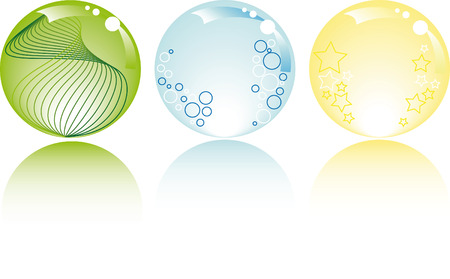 glowing spheres in pastel colors with stars bubbles and fantasy Stock Vector - 4656930