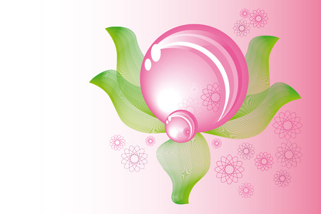 abstract pink spring sphere with leaves Stock Vector - 4656928