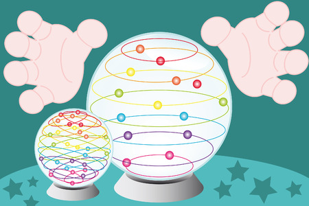 fortuneteller: fortune-teller hands arround a crystal globe