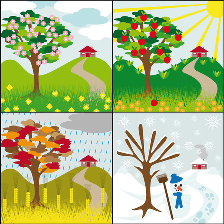 four seasons tree on a hill with a house Vector
