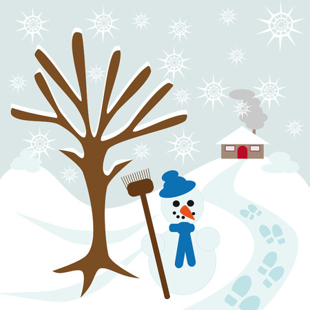 snow tree hill and house with snowman and some footsteps Ilustracja