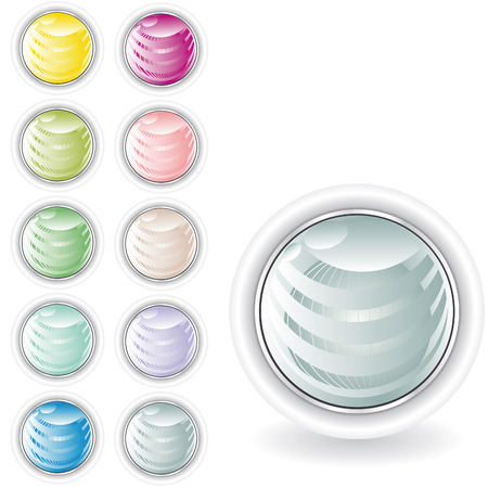 rounded web buttons in pastel tint with sphere inside and metal looking ring Stock Vector - 4781658