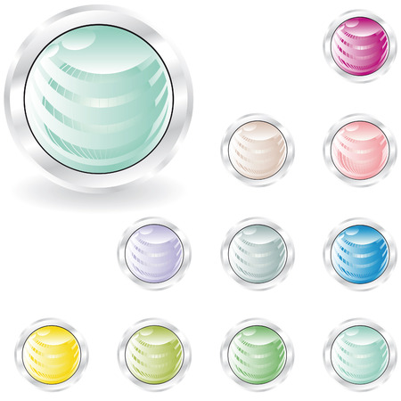 web buttons in pastel tint with sphere inside and metal looking ring  Stock Vector - 4781659