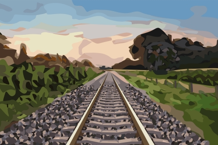 nice scenery with a rural railway track at sunset Vector