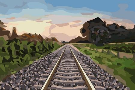 eisenbahn: sch�ne Landschaft mit einer l�ndlichen Bahnstrecke bei Sonnenuntergang