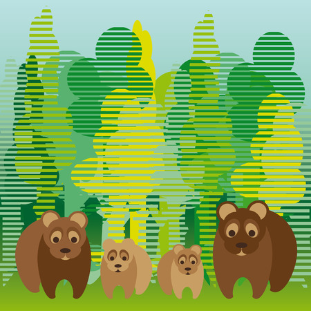cute bear family walking in the forest