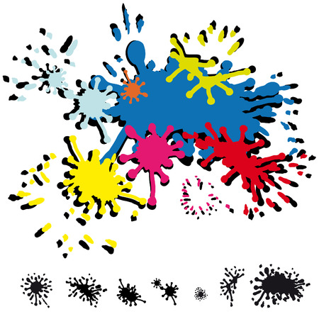 inkblots: several abstract inkblots in colors and in black