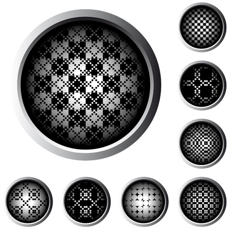 web buttons with halftone raster pattern in black and white Stock Vector - 4983862